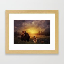 Native american boy and the bear Framed Art Print
