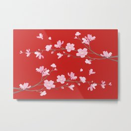 Cherry Blossom - Red Metal Print