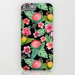 Lovebird Floral jungle tropical iPhone Case