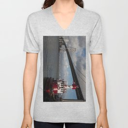 Bay Bridge Fire Boat  Unisex V-Neck