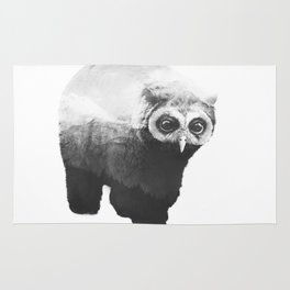 Owlbear in Mountains (Black & White) Rug