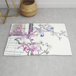 Kono Bairei - Blue Jay Birds And Cherry Tree Flowers - Vintage Japanese Woodblock Print Art  Rug