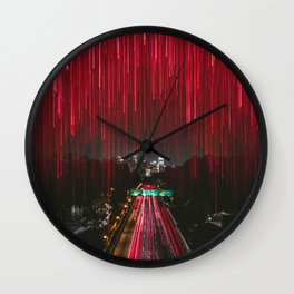 Lights and the LA Skyline at Night Wall Clock