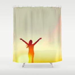 Happy success woman feeling free Shower Curtain