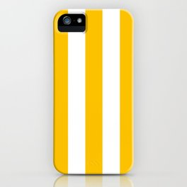 Golden poppy yellow - solid color - white vertical lines pattern iPhone Case