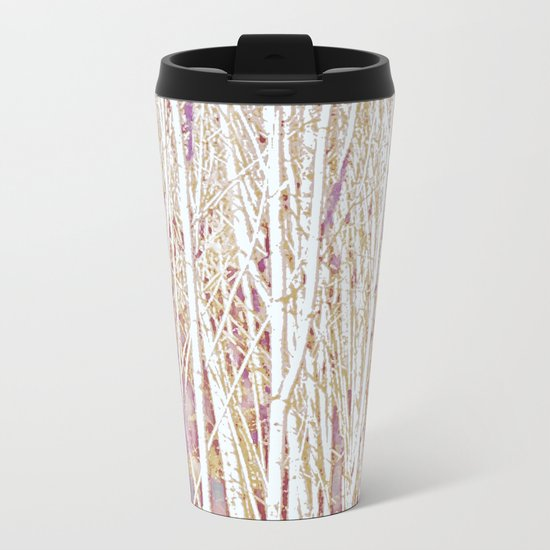 Pastel Paint Birches Metal Travel Mug