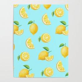 Lemons on Blue Poster