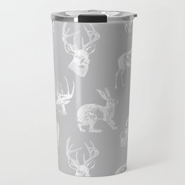 Woodland Critters in Grey Travel Mug