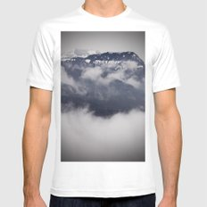 Cold Columbia Gorge Morning Staring Into Washington's Mountains White MEDIUM Mens Fitted Tee