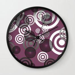 Spiral circles black & white - dark red Wall Clock