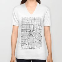 houston V-neck T-shirts featuring Houston Map Gray by City Art Posters