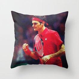 Federer Tennis Swiss Throw Pillow