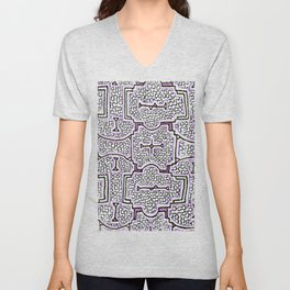 Song to Support Good Health - Traditional Shipibo Art - Indigenous Ayahuasca Patterns Unisex V-Neck