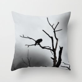 Solitary Crow Throw Pillow
