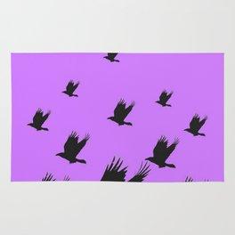 FLYING FLOCK BLACK CROWS/RAVENS ON LILAC COLOR Rug