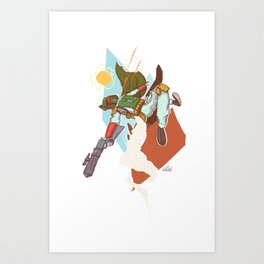 High Flying Laser Dodging Bounty Hunter Bounty Hunter Art Print