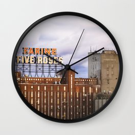 Montreal Farine Five Roses, Montreal Iconic, Urban photo, Architecture, modern Wall Clock
