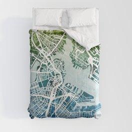 Boston Massachusetts Street Map Comforters