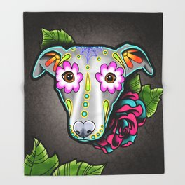 Greyhound - Whippet - Day of the Dead Sugar Skull Dog Throw Blanket