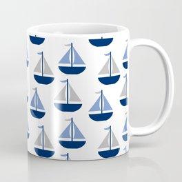 Nautical Sailboat Navy Blue Gray  Coffee Mug