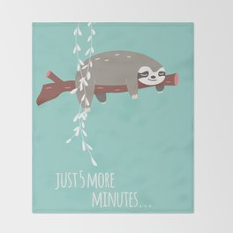 Sloth card - just 5 more minutes Throw Blanket