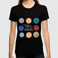 Say Hello to the Solar System Black Womens Fitted Tee X-LARGE