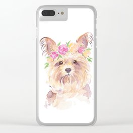 yorkie watercolor Clear iPhone Case