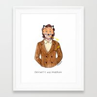 wes anderson Framed Art Prints featuring Fantastic Wes Anderson by Roxanne Bee