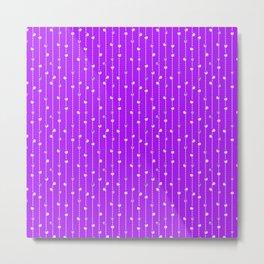 Christmas Baubles on Festive Tinsel Streamers Lavender Metal Print