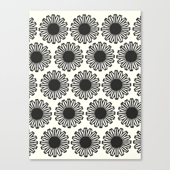 vintage flowers black Canvas Print