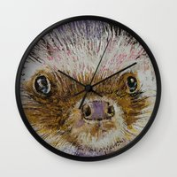 hedgehog Wall Clocks featuring Hedgehog by Michael Creese