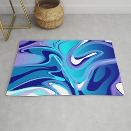 Liquify in Turquoise, Lavender, Purple, Navy Rug