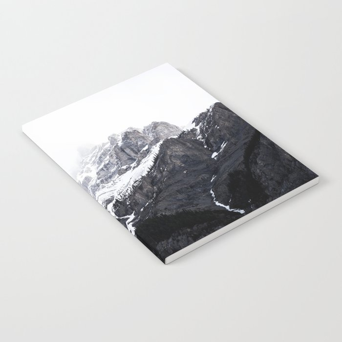 Moody snow capped Mountain Peaks - Nature Photography Notebook