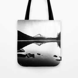 Fantastic Morning - Mount Hood Reflection Black and White Tote Bag