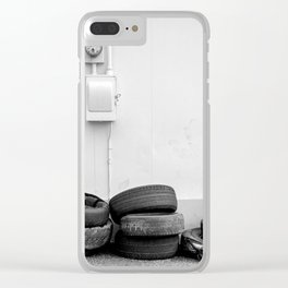 Stack Of Tires Old Gas Station Clear iPhone Case