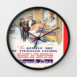 Vintage poster - French Line Cruises Wall Clock