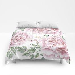 Coral Watercolor Roses Comforters