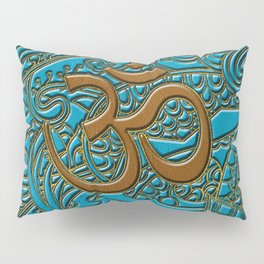 Brown on Teal Leather Embossed OM symbol Pillow Sham
