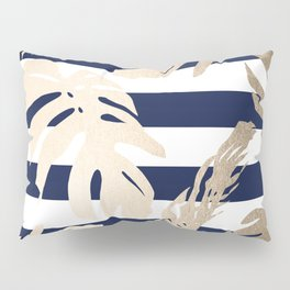 Simply Tropical Palm Leaves on Navy Stripes Pillow Sham