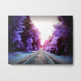 Train Tracks Vibrant Periwinkle Violet Metal Print
