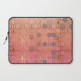 Metal pattern with pink bubble and copper frogs Laptop Sleeve
