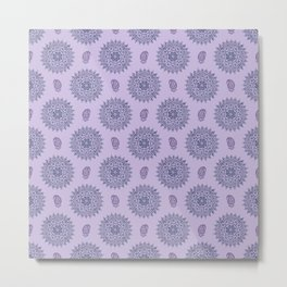 Mandala Paisley Block Print Purple Metal Print