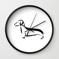 dachshund Wall Clocks featuring Dachshund by Katy Shorttle
