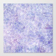 Lavender and white swirls doodles Canvas Print