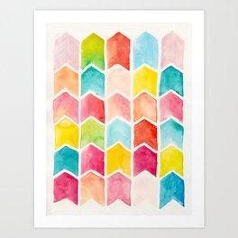 Colourful chevron Art Print