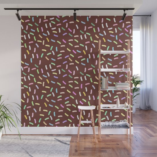 chocolate Glaze with sprinkles. Brown abstract background by ekaterinap