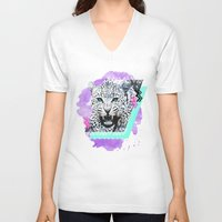 fierce V-neck T-shirts featuring Fierce Leopard by Kangarui by Rui Stalph