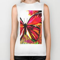 butterfly Biker Tanks featuring Butterfly  by Saundra Myles
