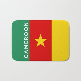 Cameroon country flag name text Bath Mat