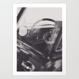 Black & white macro photo of steering wheel from a british car. Classy fine art Triumph Spitfire. Re Art Print